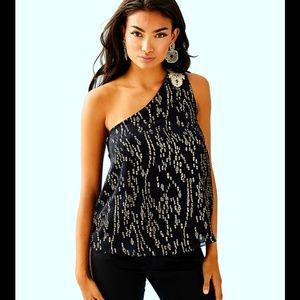 NWT Lilly Pulitzer size 6 black silk top